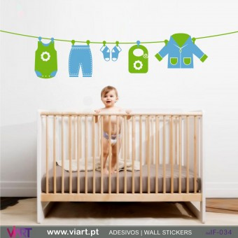 Baby Boy clothes drying!- Wall stickers - Baby room - Viart -1