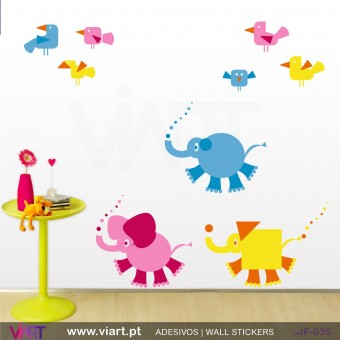 3 elefantes e 6 passarinhos - Vinil Autocolante Decoração Infantil- Viart -1