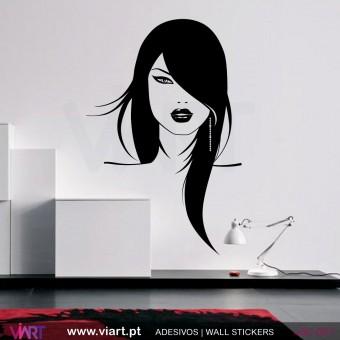 Rosto de mulher - Vinil Autocolante Decoração Parede - Viart -1