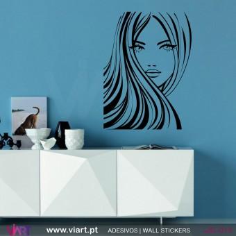 Lindo rosto de mulher!! Vinil Autocolante Decoração Parede Decorativo - Viart -1
