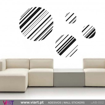 4 círculos às riscas! - Vinil Autocolante Decoração Parede Decorativo - Viart -1