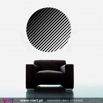 Círculo às riscas! - Vinil Autocolante Decoração Parede Decorativo - Viart -1