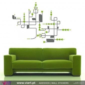 Floral abstrato! - Vinil Autocolante Decoração Parede Decorativo - Viart -1