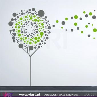 Árvore Bolinhas ao vento! - Vinil Autocolante Decoração Parede Decorativo - Viart -1