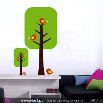 """2 Árvores """"rectângulo"""" - Vinil Autocolante Decoração Parede Decorativo - Viart -1"""