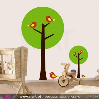 """Árvores """"Círculo"""" - Vinil Autocolante Decoração Parede Decorativo - Viart -1"""