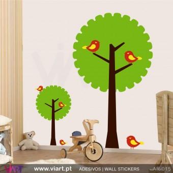"""2 Árvores """"dentadas"""" - Vinil Autocolante Decoração Parede Decorativo - Viart -1"""