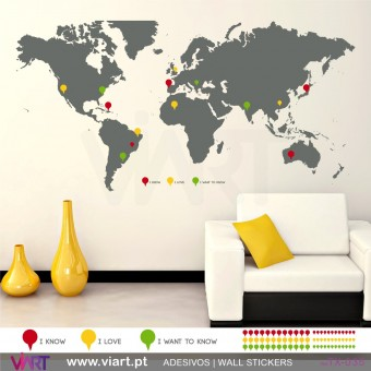 WORLD MAP in ENGLISH with pins! Wall sticker