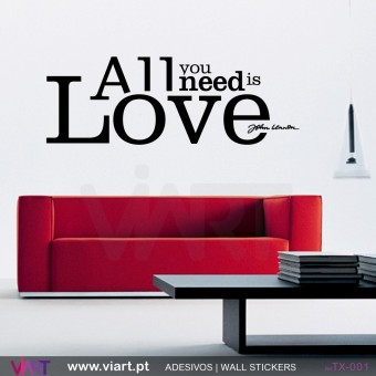All you need is Love - John Lennon - Vinil Autocolante Decoração Parede Decorativo - Viart -2