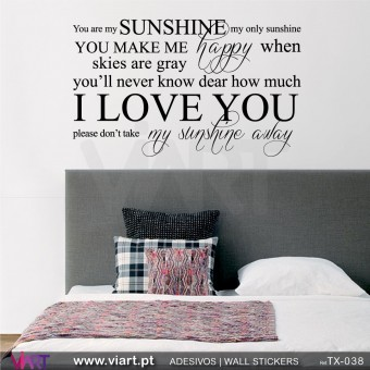 You are my SUNSHINE... 2 - Vinil autocolante decorativo!