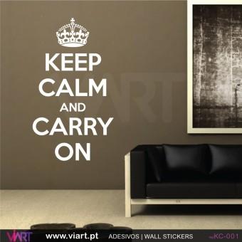 KEEP CALM AND CARRY ON - Vinil Autocolante Decorativo! Decoração Parede - Viart -1