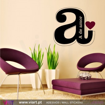 A de amor - Vinil Autocolante Decoração Parede Decorativo - Viart -1