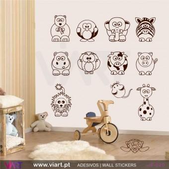 Conjunto de 12 animais - Vinil Autocolante Decorativo Infantil