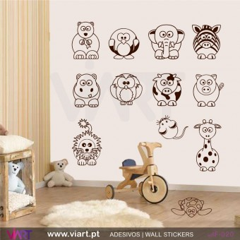 SetSet of 12 animals - Wall stickers - Baby room decoration - Viart -1