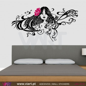 Retro women with flower in her hair - Wall stickers - Wall Decal - Viart -1