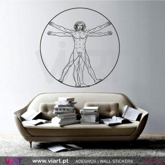 Homem de Vitrúvio - Leonardo da Vinci - Vinil Autocolante Decorativo! Decoração Parede - Viart -1