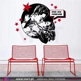 KISS ME FOREVER - Vinil Autocolante Decorativo! Decoração Parede - Viart -1