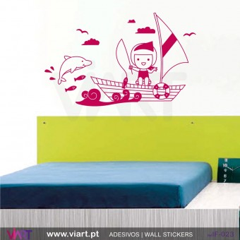 Girl in the sea! Wall stickers - Baby room decoration - Viart -1
