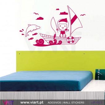 Menina no mar! Vinil Autocolante Decorativo! Decoração quarto bebé - Infantil - Viart -1