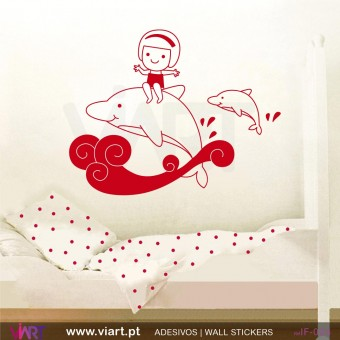 Girl with dolphins! Wall stickers - Baby room decoration - Viart -1