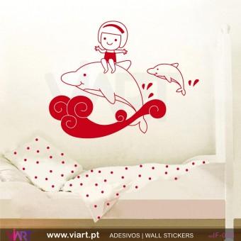 Menina com golfinhos! Vinil Autocolante Decorativo! Decoração quarto menina - Infantil - Viart -1