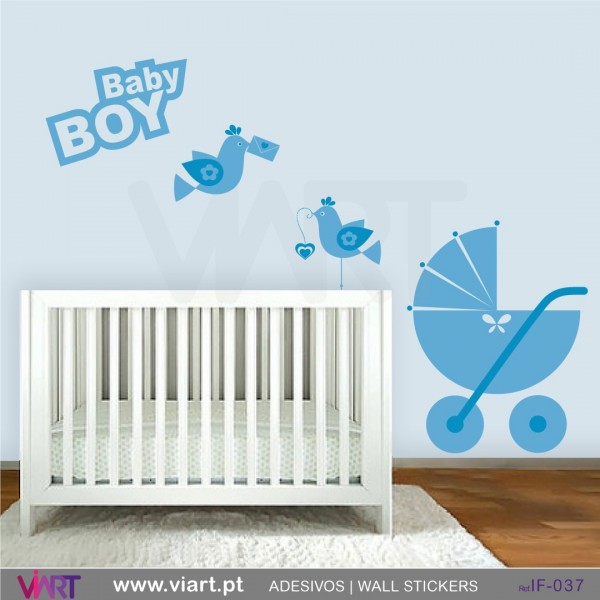 Baby Boy Stroller And Birds Wall Stickers Baby Room