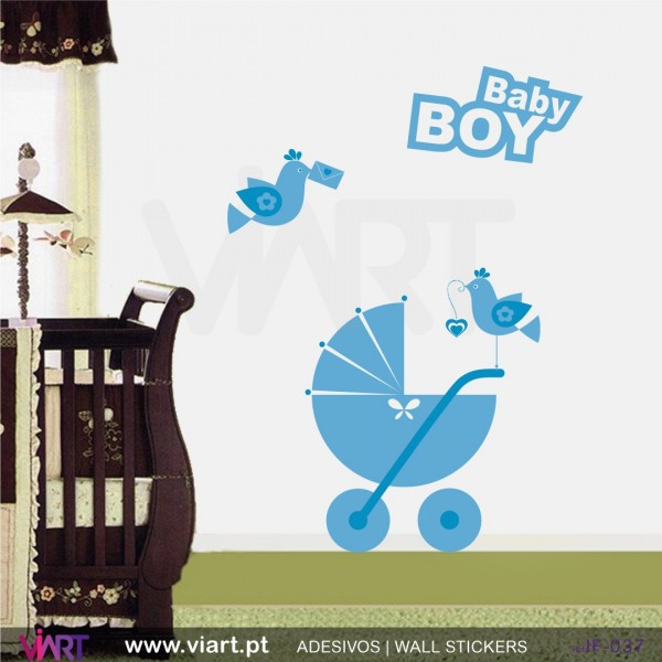 Baby Boy Stroller And Birds Wall Stickers