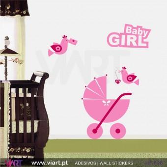Conjunto Baby Girl, carrinho e passarinhos! Vinil Autocolante Decorativo! Decoração quarto menina - Infantil - Viart -1