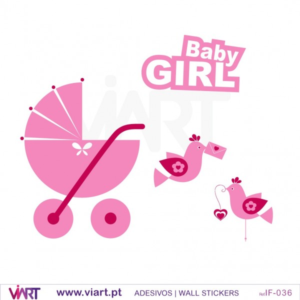 ... Baby Girl, Stroller And Birds! Wall Stickers   Baby Room Decoration    Viart   Part 69