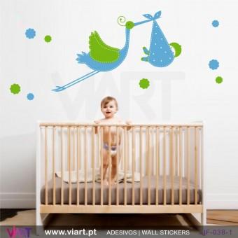 Chegou a cegonha! Vinil Autocolante Decorativo! Decoração quarto Bebé - Infantil - Viart -1