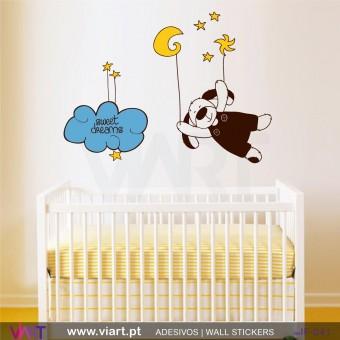 Bons sonhos nas estrelas! Vinil Autocolante Decorativo Infantil