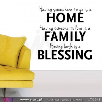HOME - FAMILY - BLESSING - Versão 2 -  Vinil Autocolante Decorativo