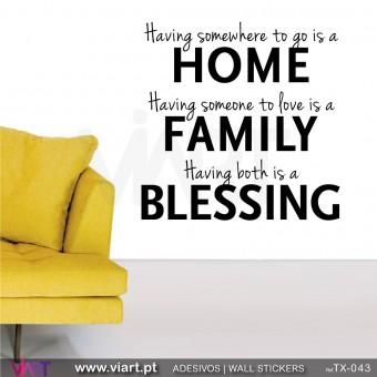 HOME - FAMILY - BLESSING - Versão 2 -  Vinil Autocolante Decorativo