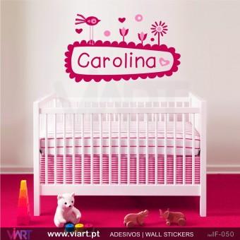 Nome de criança no jardim encantado! - Vinil Autocolante Decorativo! Decoração quarto Bebé - Infantil - Viart -1