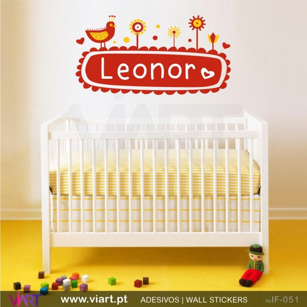 Garden with bird and baby´s name! Baby room decoration - Viart