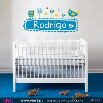 Infantil - Viart -1 Garden with  owl, chicken and baby´s name! Wall stickers - Baby room decoration - Viart -1