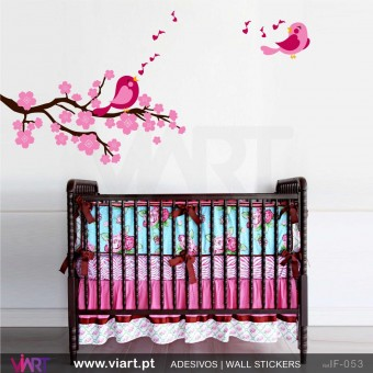 Branch with flowers and singing birds Wall stickers - Baby room decoration - Viart -1