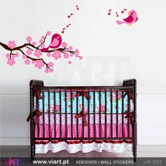Encantador ramo de flores com passarinhos a cantar!- Vinil Autocolante Decorativo! Decoração quarto Bebé - Infantil - Viart -1