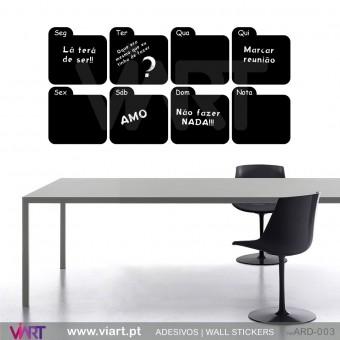 Plano semanal em vinil ardósia - Versão 3 - Vinil Autocolante Decorativo! Decoração Parede - Viart -1
