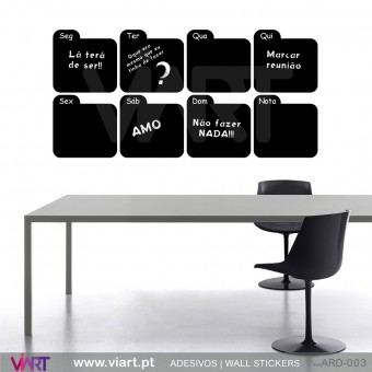 Weekly Planner Chalkboard Calendar - Version 3 - Blackboard - Wall stickers - Wall Art - Viart -1