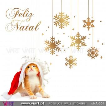 """Conjunto Flocos de neve e """"Feliz Natal"""" - Vinil Autocolante Decorativo! Decoração Natal - Viart -1"""