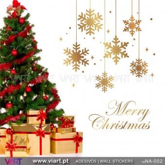 """Conjunto Flocos de neve e """"Merry Christmas"""" - Vinil Autocolante Decorativo! Decoração Natal - Viart -1"""