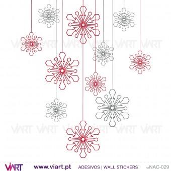 Conjunto de 12 cristais de gelo! Versão 1 - Natal - Vinil Autocolante Decorativo! Decoração Natal - Viart -1