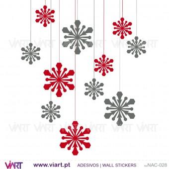 Conjunto de 12 cristais de gelo! Versão 2 - Natal - Vinil Autocolante Decorativo! Decoração Natal - Viart -1