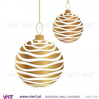 """Conjunto de 6 bolas de Natal """"onduladas""""! - Vinil Autocolante Decorativo! Decoração Natal - Viart -1"""