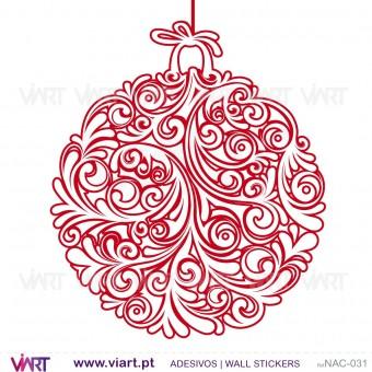 Conjunto de 3 bolas de Natal florais - Vinil Autocolante Decorativo! Decoração Natal - Viart -1