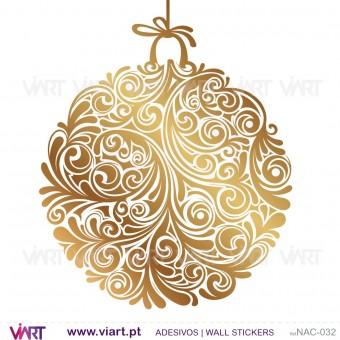 Conjunto de 3 bolas de Natal florais - versão 2 - Vinil Autocolante Decorativo! Decoração Natal - Viart -1