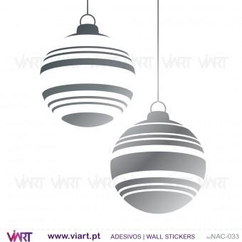 """Conjunto de 6 bolas de Natal """"riscas"""" - Vinil Autocolante Decorativo! Decoração Natal - Viart -1"""
