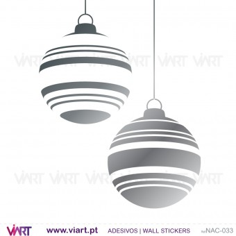 Set of 6 striped Christmas balls - Wall stickers - Wall Art - Viart -1