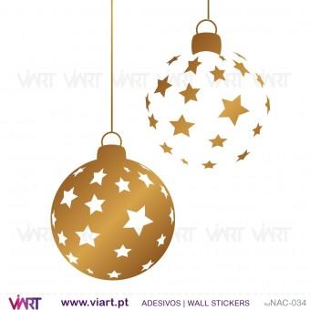 """Conjunto de 6 bolas de Natal """"estrelas"""" - Vinil Autocolante Decorativo! Decoração Natal - Viart -1"""